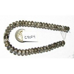 C4024 Czech Glass Faceted Rondelle Beads PLATINUM  4x7mm
