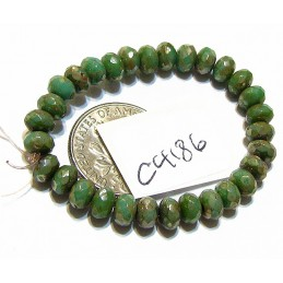 C4186 Czech Glass Faceted Rondelle Beads SEA GREEN w/ PICASSO   3x5mm