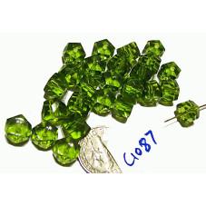 C1087 Czech Glass Faceted Rondell GREEN 6x8mm