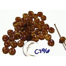 C796  Czech Glass Wavy Rondelle BROWN GOLD 7mm