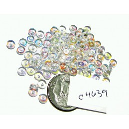 C4639 Czech Glass Rondelle CRYSTAL CLEAR AB 4mm