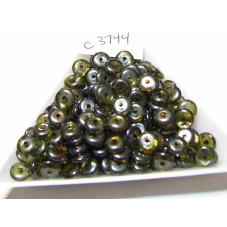 C3744 Czech Glass Rondelle  LUMI GREEN 6mm