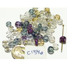 C1396 Czech Glass (Irregular) Rondell LUSTER MIX 6mm