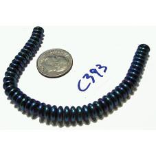 C393 Czech Glass Rondelle  BLUE IRIS 6mm