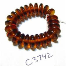 C3742 Czech Glass Rondelle Bead MADERIA TOPAZ 8mm