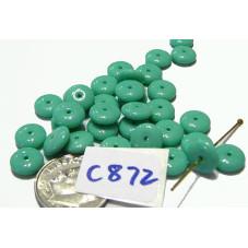 C872 Czech Glass Rondelle  Bead OPAQUE SEA GREEN 8mm