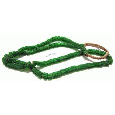 M904 Nepal Glass Handmade Beads Fluted GREEN 4x6mm