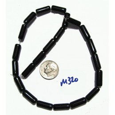 M320 Glass Column Bead BLACK 15x6mm