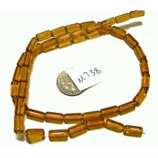 M738B Glass Round Tube Bead DARK SUN YELLOW 9x4mm