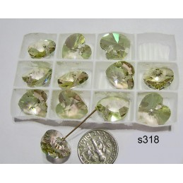 S318 Swarovski Heart Pendant LUMINOUS GREEN 14mm