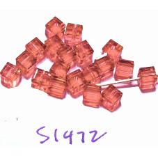 S1472 Swarovski Cube Bead 5601 PADPARADSCHA 4mm