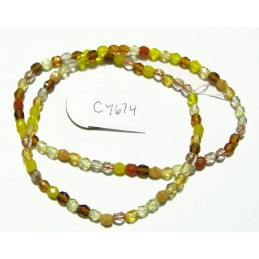 C4674 Czech Glass Faceted Round EARTH MIX 4mm