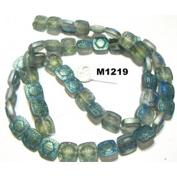 M1219 China Glass Square Engraved Bead CRYSTAL w/ HALF GREEN MATTE  13mm