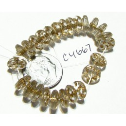 C4667 Czech Glass Rondelle Bead CRYSTAL w/ GOLD DOTS  8mm