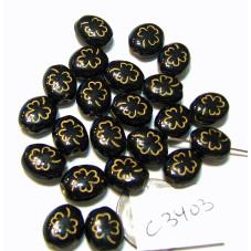 C3403 Czech Glass Clover Beads Clover JET w/GOLD 10x9mm