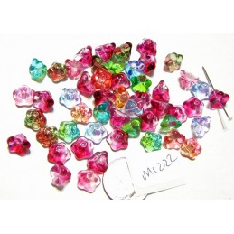 M1222 Glass Trumpet Flower Bead China COLOR MIX 8.5mm