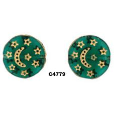 C4778 Czech Glass Star & Moon Coin Bead EMERALD w/ GOLD  13mm