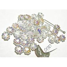 C4787 Czech Glass Cactus Flower Bead CRYSTAL AB  9mm
