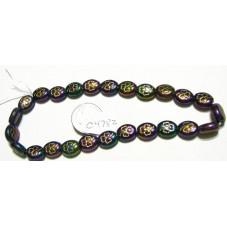 C4782 Czech Glass Oval Beads Clover IRIS PURPLE  W/GOLD 9-10mm