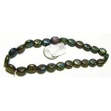 C4781 Czech Glass Oval Beads Clover IRIS GREEN W/GOLD 9-10mm