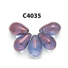 C4035 Czech Glass Teardrop Beads LUMI AMETHYST  6x9mm