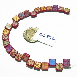 C2892  Czech Glass 2-hole Laser Etched Tile Beads TAPESTRY on MATTE RASPBERRY w/ RAINBOW FINISH 6mm