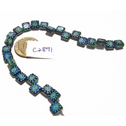 C2891  Czech Glass 2-hole Laser Etched Tile Beads SUN on TURQUOISE w/ IRIS BLUE FINISH 6mm