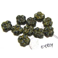 C4814 Czech Glass Clover Bead JET w/ PICASSO  15mm