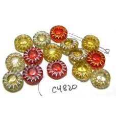 C4820 Czech Glass Coin Flower Bead RED / TOPAZ MIX 15mm