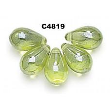 C4819 Czech Glass Teardrop Beads OLIVINE SHIMMER 6x9mm