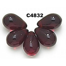 C4823 Czech Glass Teardrop Beads  GARNET 6x9mm