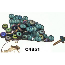 C4851 Czech Rondelle Bead FROSTED AQUA VITRIAL 4mm