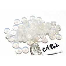 C4862 Czech Glass Rondelle MILKY WHITE 6mm