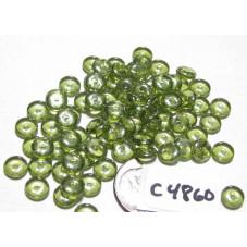 C4860 Czech Glass Rondelle OLIVINE SHIMMER 6mm