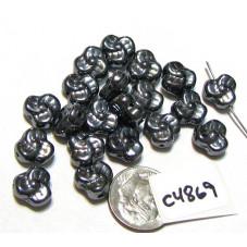C4869 Czech Glass Trillium Pansy Bead HEMATITE 9mm