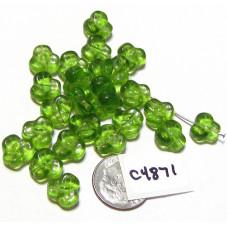 C4871 Czech Glass Trillium Pansy Bead OLIVINE 9mm