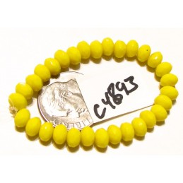 C4893 Czech Glass Faceted Rondelle Beads YELLOW  3x5mm