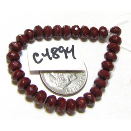 C4894 Czech Glass Faceted Rondelle Beads RED OXIDE   3x5mm