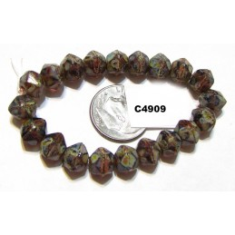 C4909 Czech English Cut  Bead MULBERRY w/ PICASSO & CORAL WASH   8mm