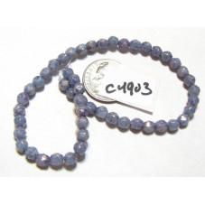 C4903 Czech English Cut Bead BLUE w/ PURPLE PANSY LUSTER 4mm