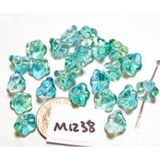 M1238 Glass Trumpet Flower Bead China BLUE / GREEN 8.5mm