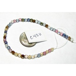C4311 Czech Faceted Round  Fire Polished LUSTER MIX 4mm