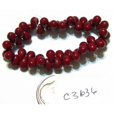 C3636 Czech Glass Teardrop Beads MAROON  4x6mm