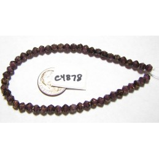 C4878 Czech English Cut Bead PURPLE PANSY w/ BRONZE  4mm