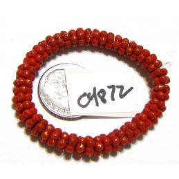 C4872 Czech Glass Forget Me Not Spacer Bead RED w/ GOLD   5mm