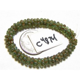 C4874 Czech Glass Forget Me Not Spacer Bead SEA GREEN w/ PICASSO 5mm