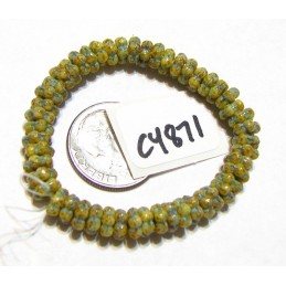 C4871 Czech Glass Forget Me Not Spacer Bead HONEY w/ TURQUOISE WASH  5mm