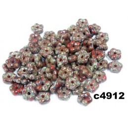 C4912 Czech Glass Forget Me Not Spacer Bead RED TRAVERTINE  5mm