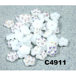 C4911 Czech Glass Forget Me Not Spacer Bead WHITE ALABASTER AB  5mm