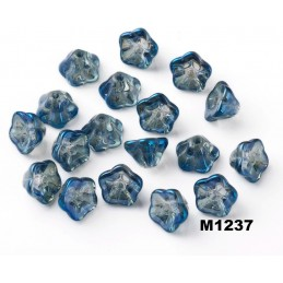 M1237 Glass Trumpet Flower Bead China CRYSTAL BLUE 8.5mm
